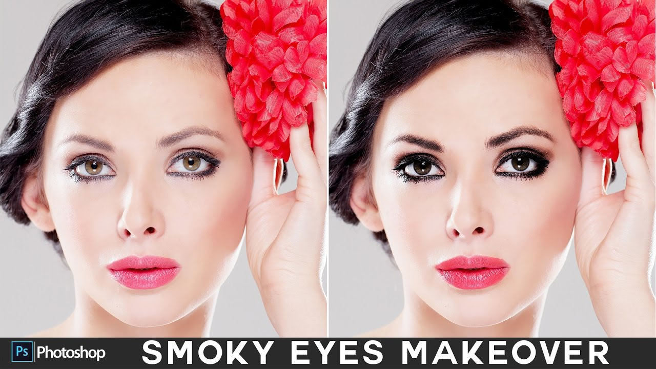 how to create smokey eyes (shadow & mascara) in photoshop - enhance  eyelashes tutorial