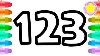 Learn Glitter Numbers1 -10| Number Coloring|drawingpaintingkidstv
