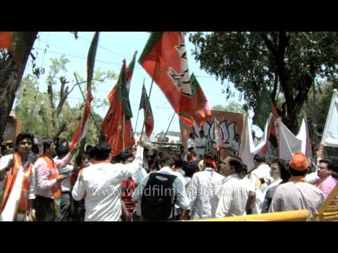 Celebrations in full swing outside BJP Delhi office