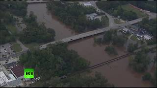 Vista aérea de los daños causados por el huracán Florence en Carolina del Norte