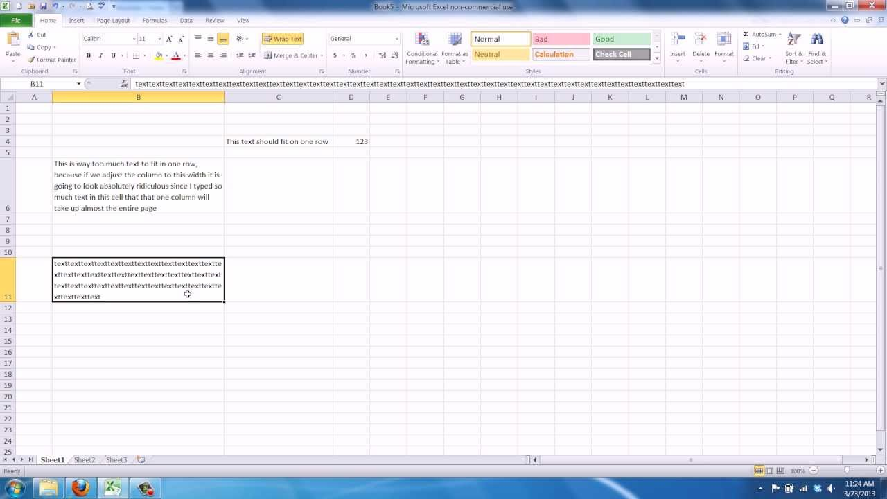 how to stop text from overflowing in excel cell