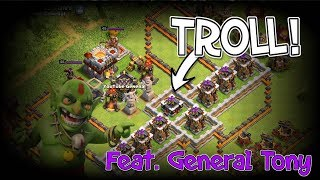 INSANE GEARED ARCHER TOWER TROLL BASE! - ATTACKING GENERAL TONY! - Clash Of Clans