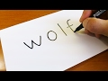 Easy ! How to turn words WOLF into a Cartoon -  Let's Learn drawing art on paper for kids