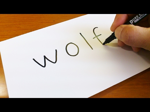 Easy ! How to turn words WOLF into a Cartoon -  Lets Learn drawing art on paper for kids