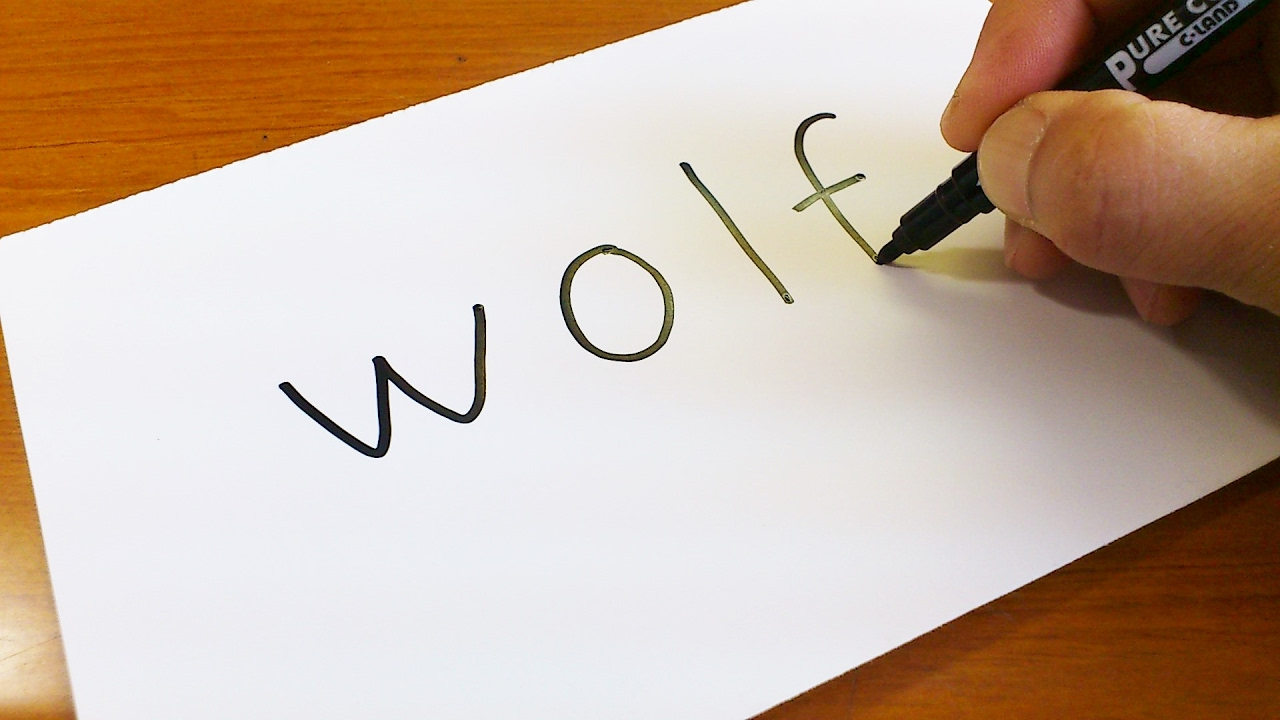 Easy How To Turn Words Wolf Into A Cartoon Let S Learn Drawing