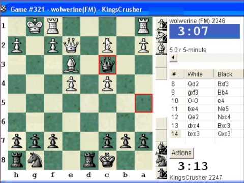 Chess World.net:  Blitz #319 vs. FM wolwerine (2246) - KP: Nimzovich defense (B00) (Chessworld.net)