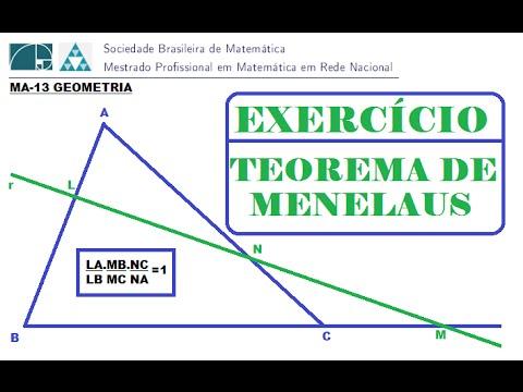 (PROFMAT-MA13)  TEOREMA DE MENELAUS (EXERCÍCIO RESOLVIDO)