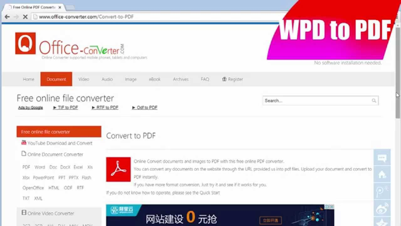 convert wpd to pdf freeware