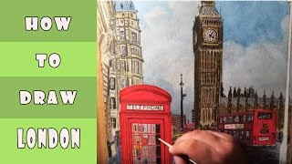 How to draw Big Ben-London كيف ترسم ساعة بيج بن-لندن