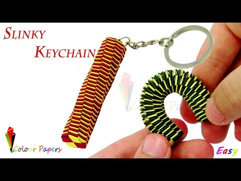 How to make a paper Slinky Keychain? ( Colour Papers )