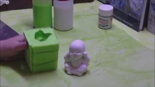 Eine Silikonform in einem Formenbaurahmen selber gießen - ein kleiner Buddha