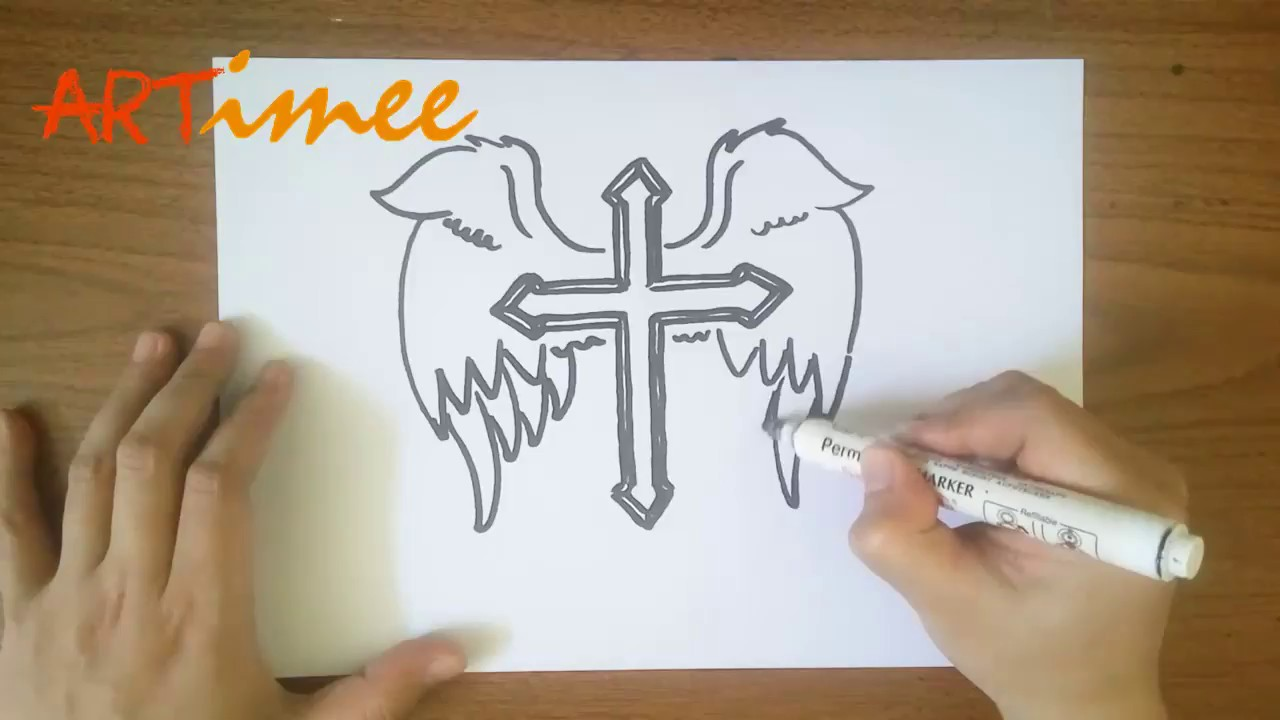 How To Draw A Cross With Wings Youtube