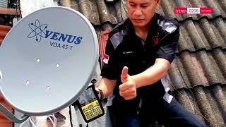 Instalasi Dish 45 cm Ninmedia (Satelit chinasat 11) di Lapangan