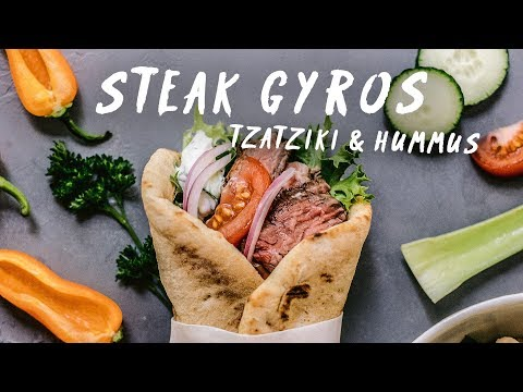 Incredible STEAK GYROS with Tzatziki Sauce & Hummus Recipes | HONEYSUCKLE