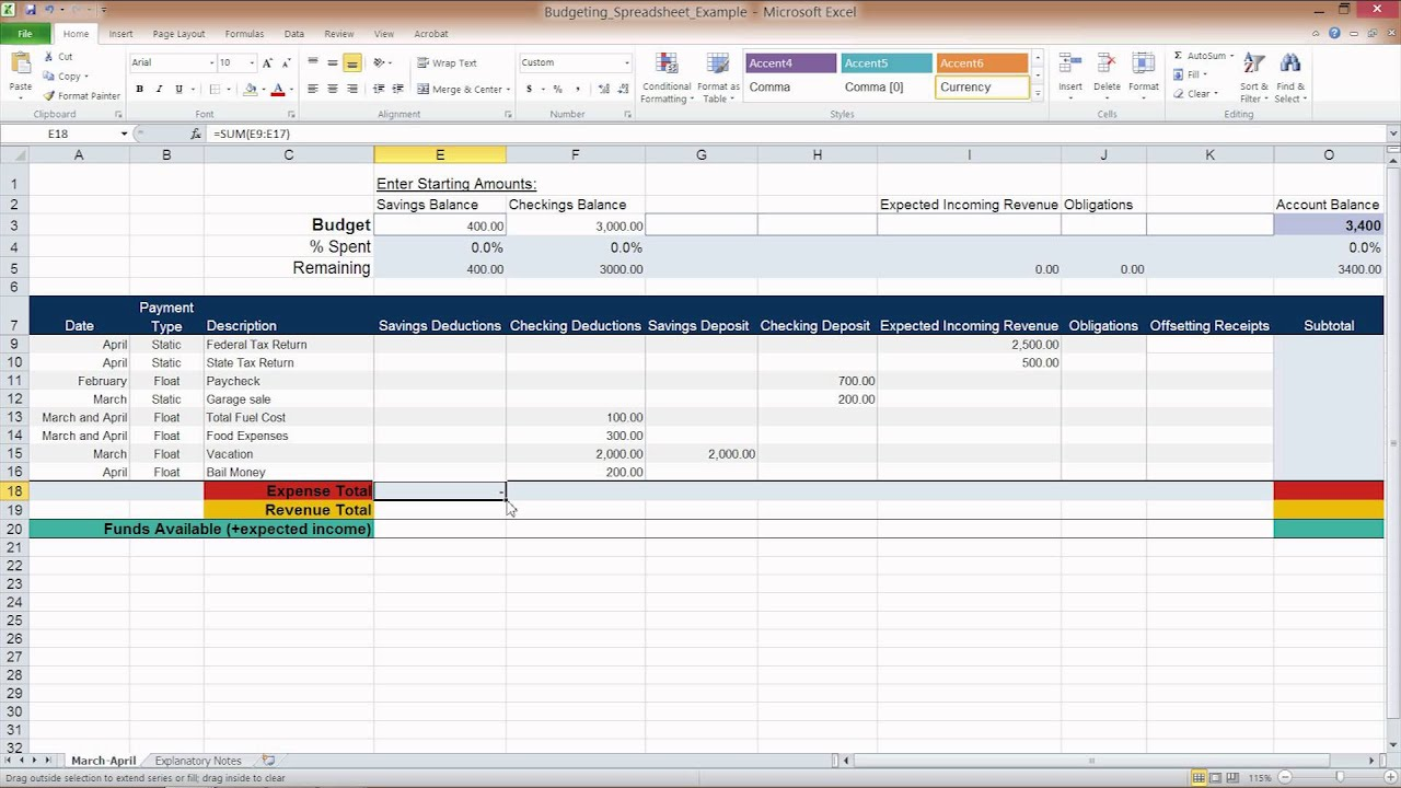 Simple Personal Budget Template Excel