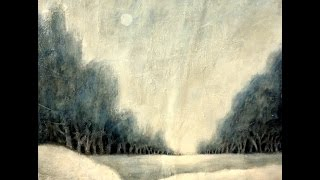 Weihnachtsgruß -  Winterlandschaft in Acryl , Christmas greetings -  winter landscape