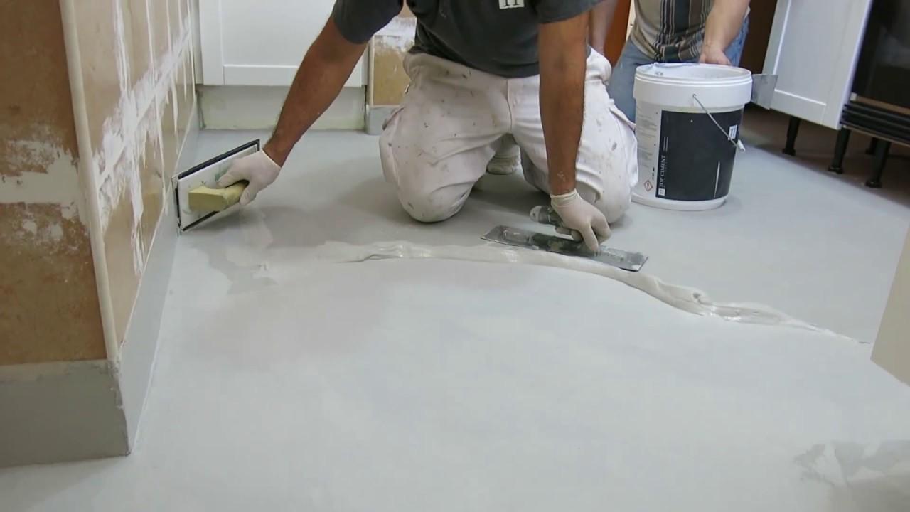 Microcemento sobre azulejos de gres en suelo de cocina youtube - Suelo de microcemento pulido ...