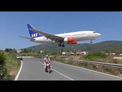 Low Landings. Danger from aircraft blast. Skiathos, Greece.