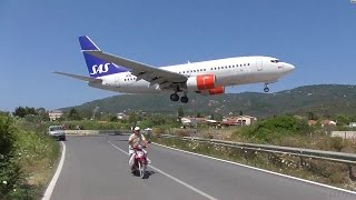 Top 10 Airlines - Low Landings. Danger from aircraft blast. Skiathos, Greece.