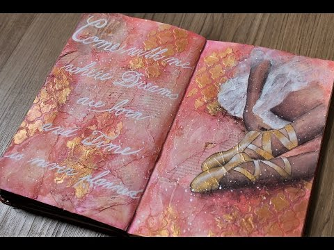 Art journal mixed media tutorial- Ballet acrylic painting.