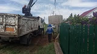 Монтаж бетонных колец и крышки под канализацию в Похвистнево