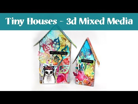 Mixed Media Tutorial with Tim Holtz little Houses & Brushos
