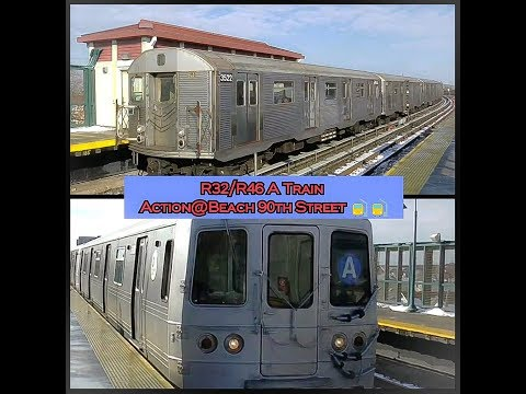 IND Rockaway Line: R32/R46 A Train Action@Beach 90th Street-Holland