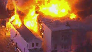 Raw Video: Buildings Engulfed In Fire In Newark