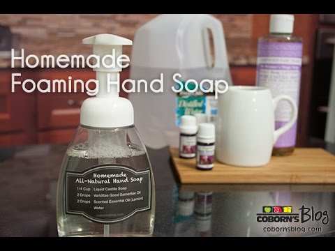 This luxurious, DIY hand soap is made with essential oils, is easy to make, and makes a great gift.