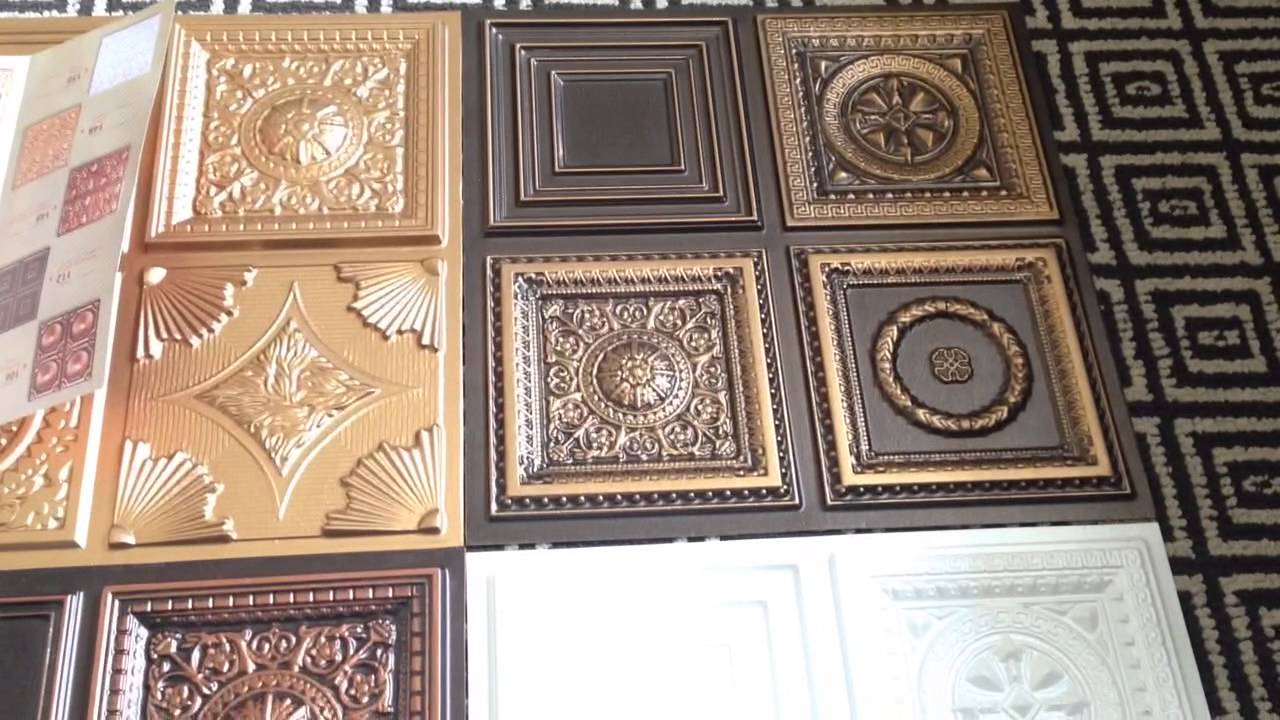 Miniature samples faux tin ceiling tiles youtube dailygadgetfo Image collections