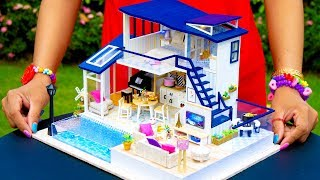 DIY Miniature Modern Party Home with Big Swimming Pool