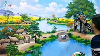 3d wall painting of country landscape. Painting contact: 0969.033.288 / Training painting courses.