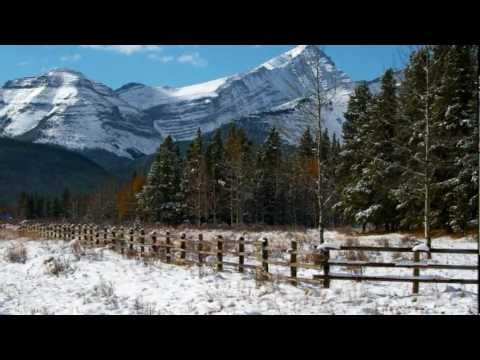 Winter scene - beautiful Alberta landscapes with great Christmas songs for inspiration.