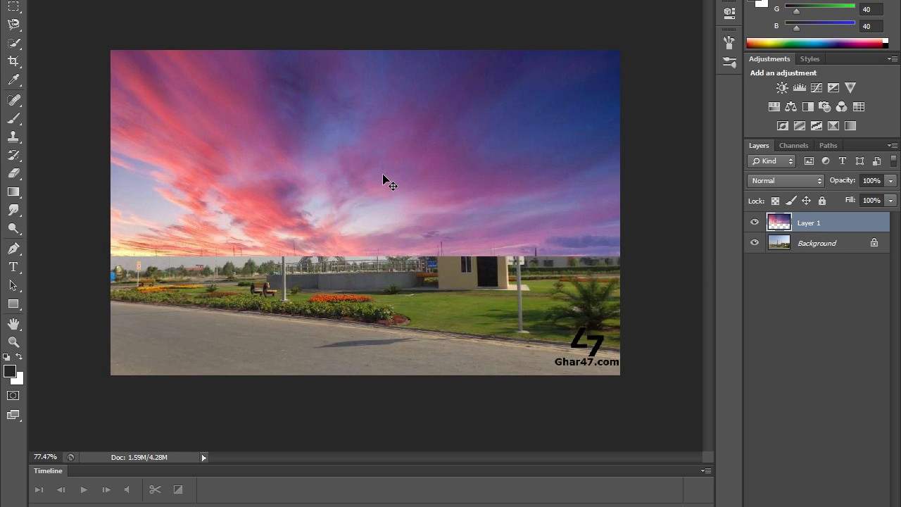 How to blend two images together in photoshop - YouTube