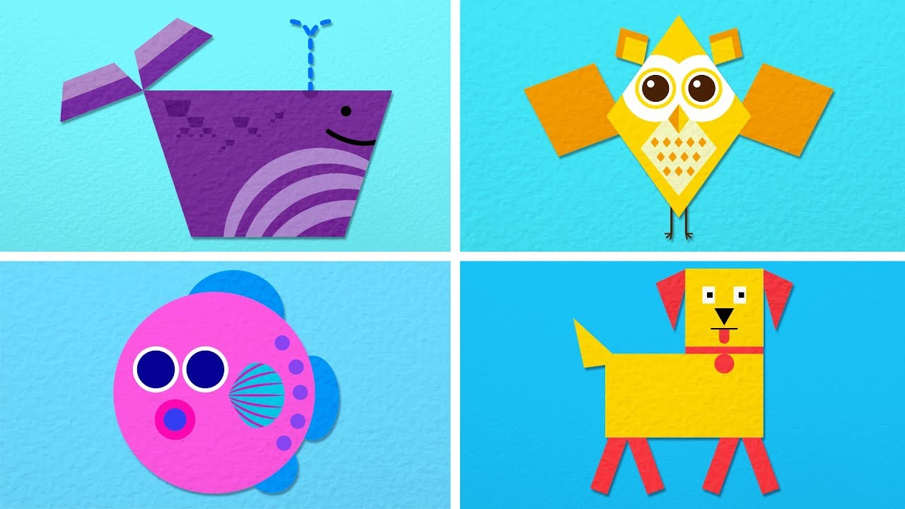 Animals Made out of Geometric Shapes - Paper Animation