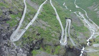 Trollstieg in Norwegen mit dem Wohnwagengespann
