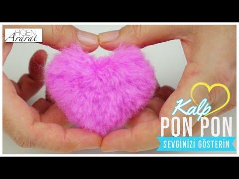 En kolay peluş görünümlü Kalp ponpon nasıl yapılır? / şapka, atkı kenarı, anahtarlık / Figen Ararat