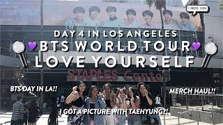 180909 BTS (방탄소년단) LOVE YOURSELF WORLD TOUR IN LA DAY 4!! PIC WITH TAEHYUNG?! MERCH HAUL!! ♡
