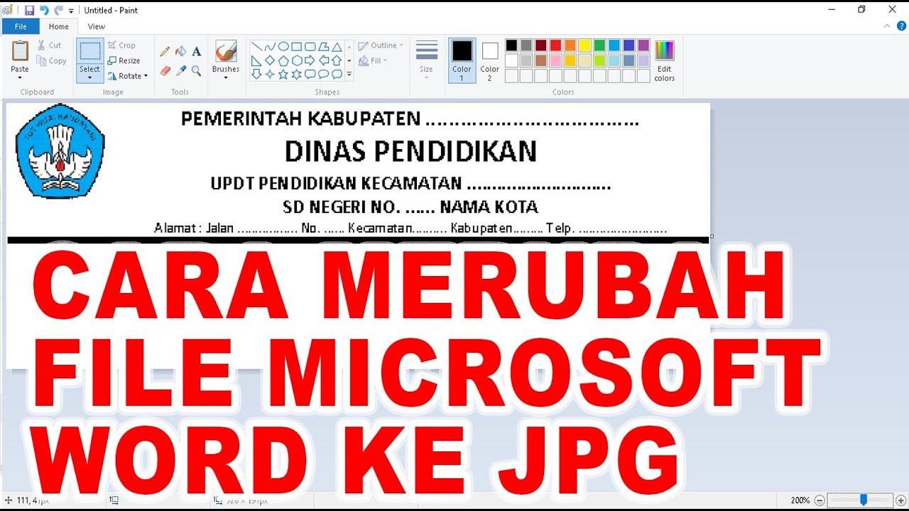 Cara Merubah File Microsoft Word Ke Jpg Youtube