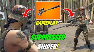Fortnite *NEW* SUPPRESSED SNIPER EARLY GAMEPLAY! (STATS + Sound Effects) - Fortnite Battle Royale!