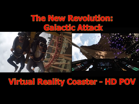 New Revolution: Galactic Attack VR Coaster HD POV - Six Flags Discovery Kingdom February 2017
