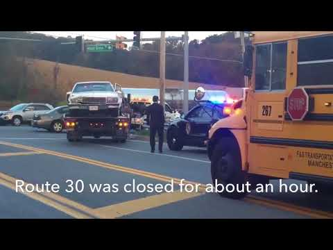 2 sent to hospital after crash outside of Manchester Valley High School