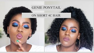 How To |Genie  Ponytail on Short 4C Natural Hair with 100% Kanekalon| Darling Braids Unboxing