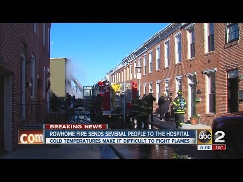 Locust Point row home fire sends several to hospital