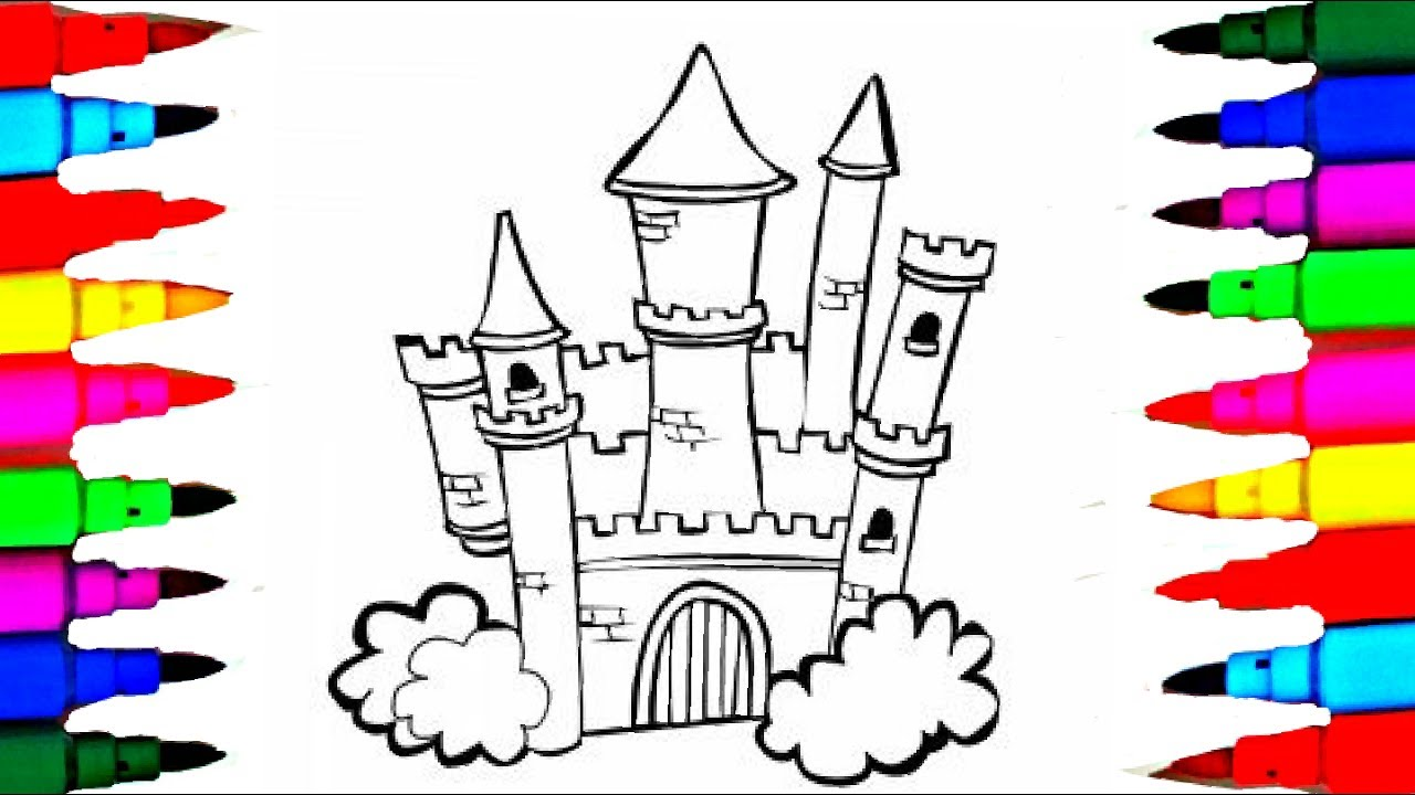 how to draw castle 8 in 1 disney princesses coloring pages l