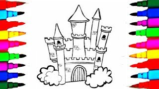 How to Draw Castle 8 in 1 Disney Princesses Coloring Pages l Castle Coloring Pages Princess Kingdom