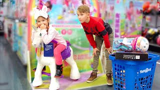 Ksysha Kids TV and Nikita Time to shopping at Toys store