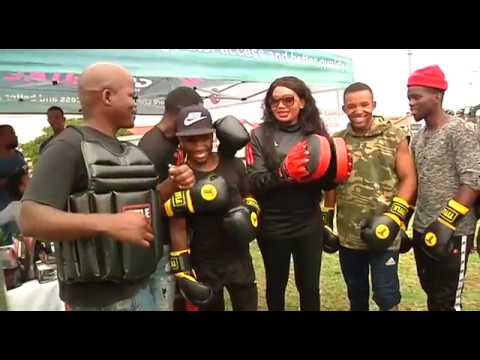 Deputy Minister Mahambehlala hands over boxing equipment to Rumble Africa Boxing Club