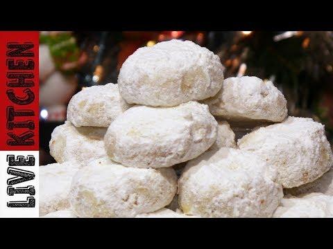 ΘΕIΚΟΙ Κου�αμπιέδες με Πο�δ�α Πο�τοκαλιο�-Traditional Kourabiedes-Christmas Cookies-Live Kitchen