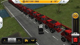 A large line of big red harvester in fs 14